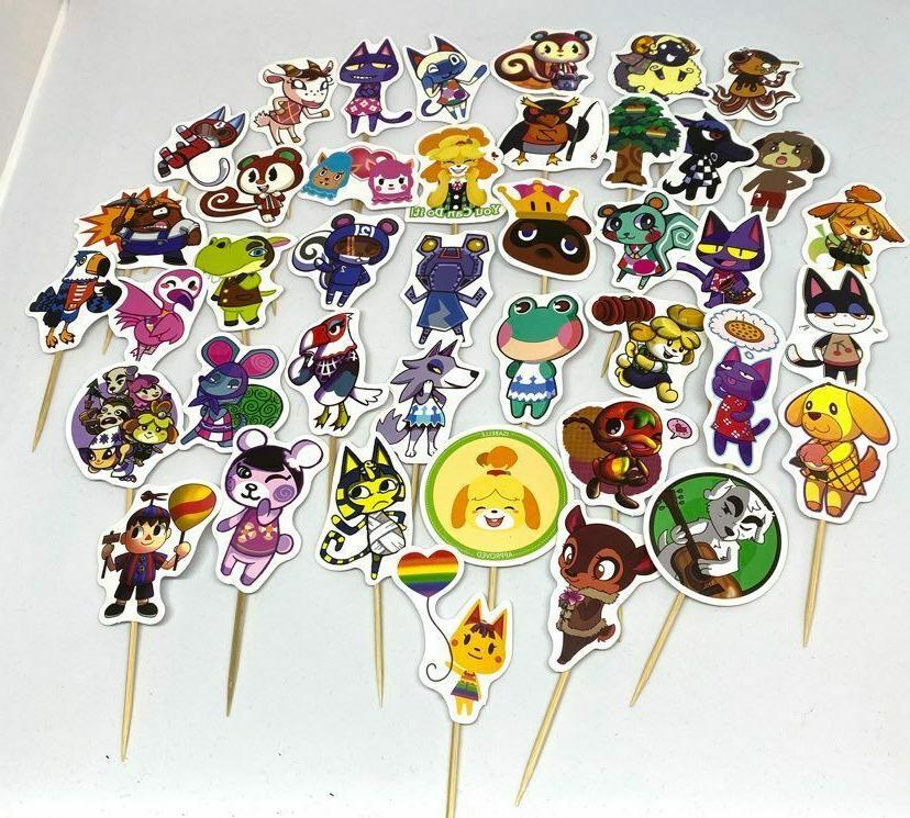 "12 Handmade Crossing Sticker Cupcake Party Favor 7/8"" Ribbon"