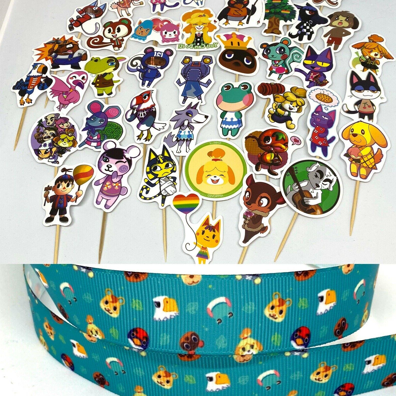 12 animal crossing sticker cupcake topper party