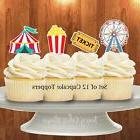 12 carnival circus cupcake toppers cake toppers