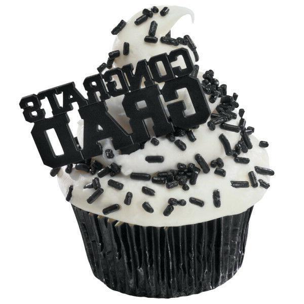 12 congrats grad black graduation picks cupcake