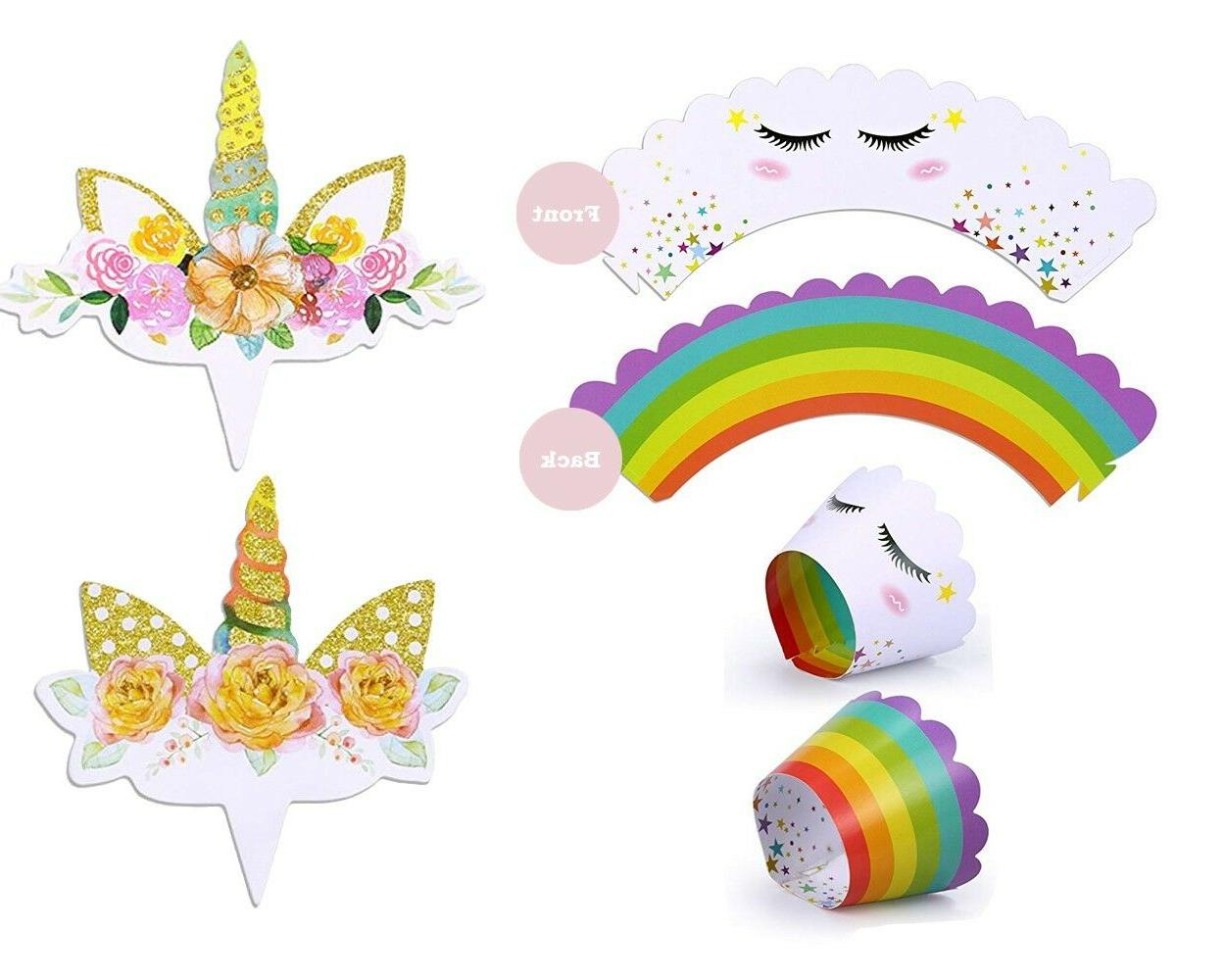 12 double sided unicorn cupcake toppers