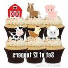 12- FARM ANIMAL Cupcake Toppers / Cake Toppers / Birthday Pa