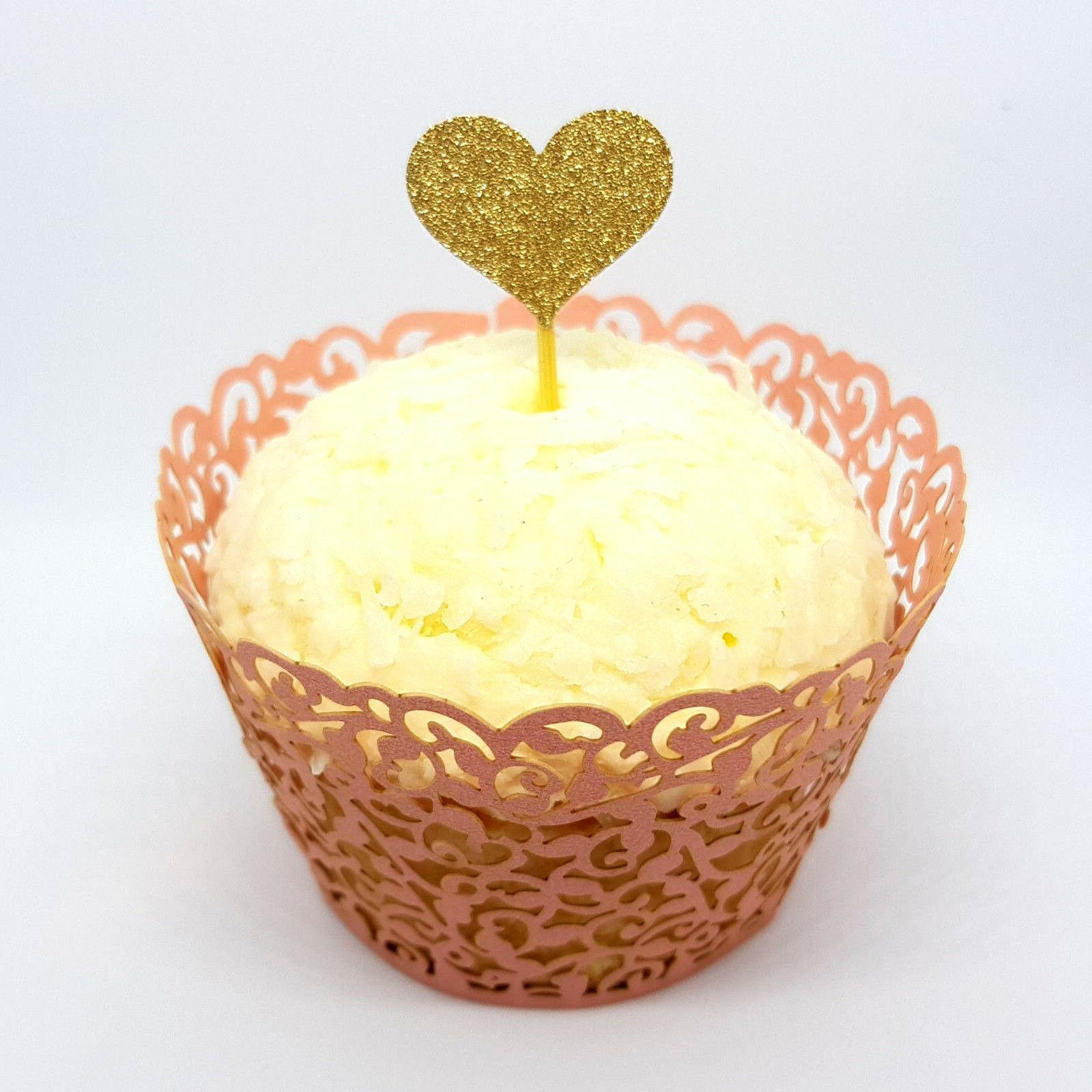 12 Gold Heart Cupcake & Wedding