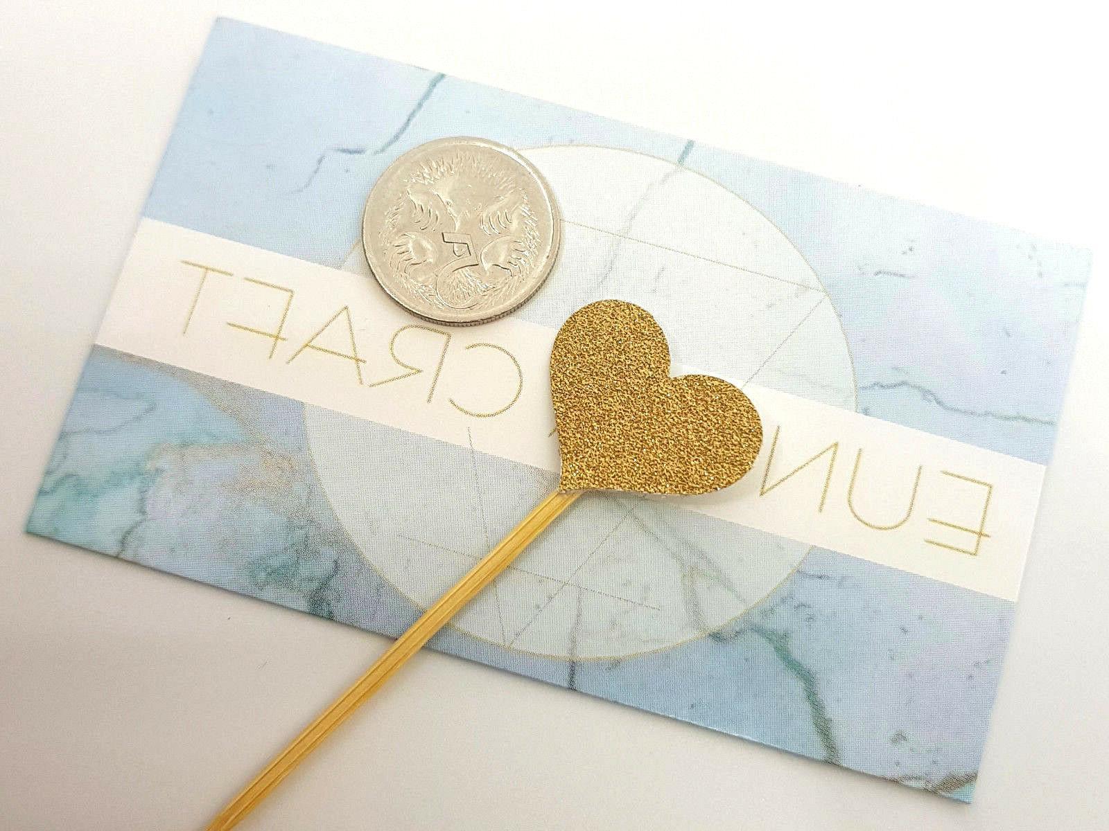 12 Glitter Heart Cupcake Toppers/Picks | Engagement & Wedding