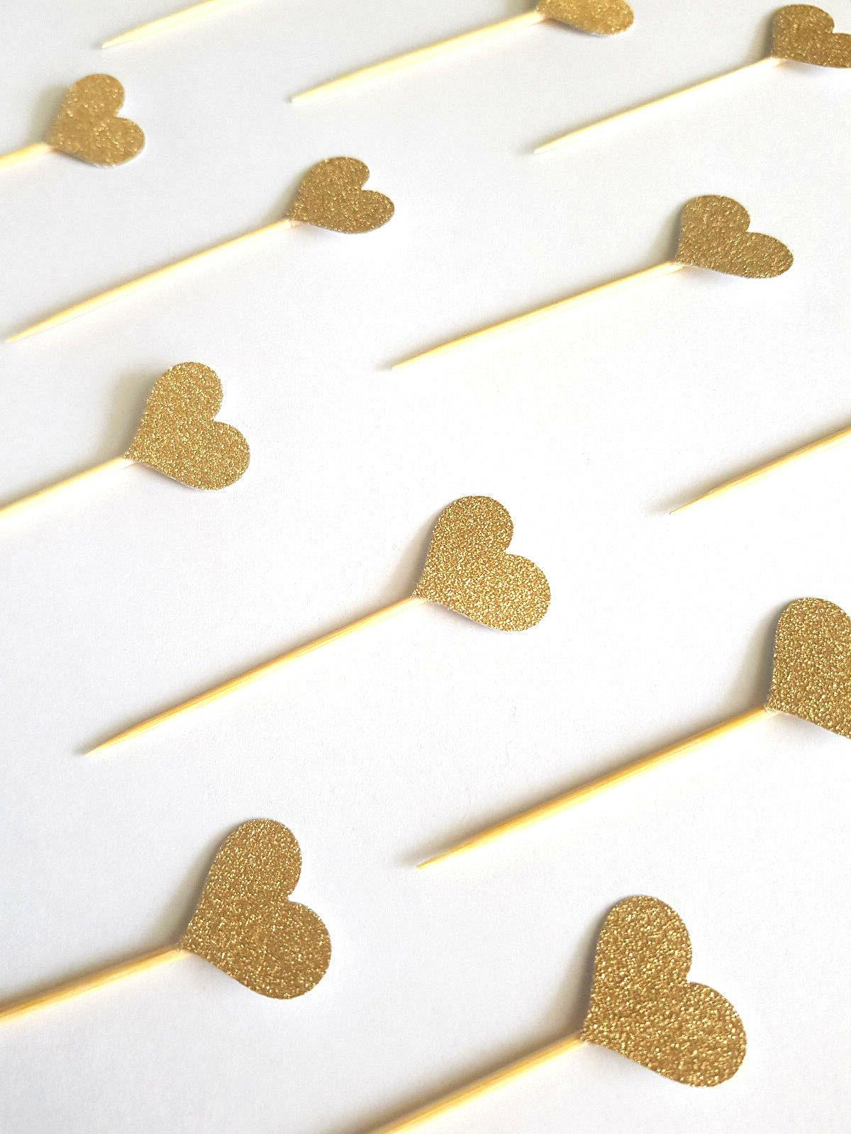 12 Gold Cupcake Toppers/Picks &