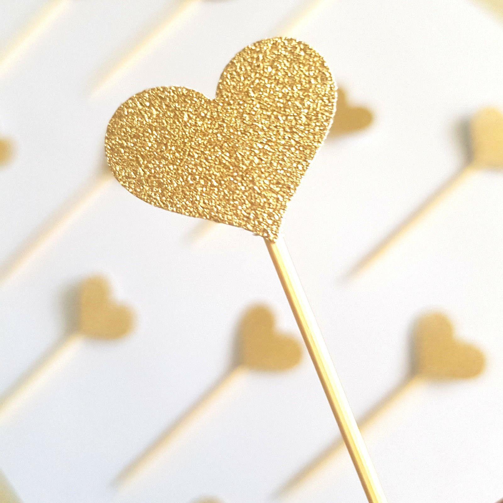 12 gold glitter heart cupcake toppers picks