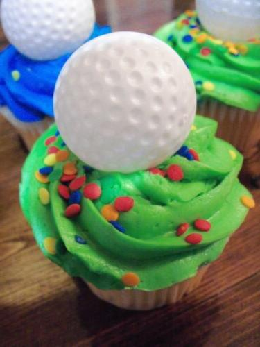 12 Golf Ball 3D Cupcake Topper Sport  Party Decoration Golf