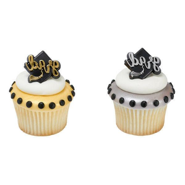 12 Grad Rings Silver and Gold Graduation Cupcake Toppers Par