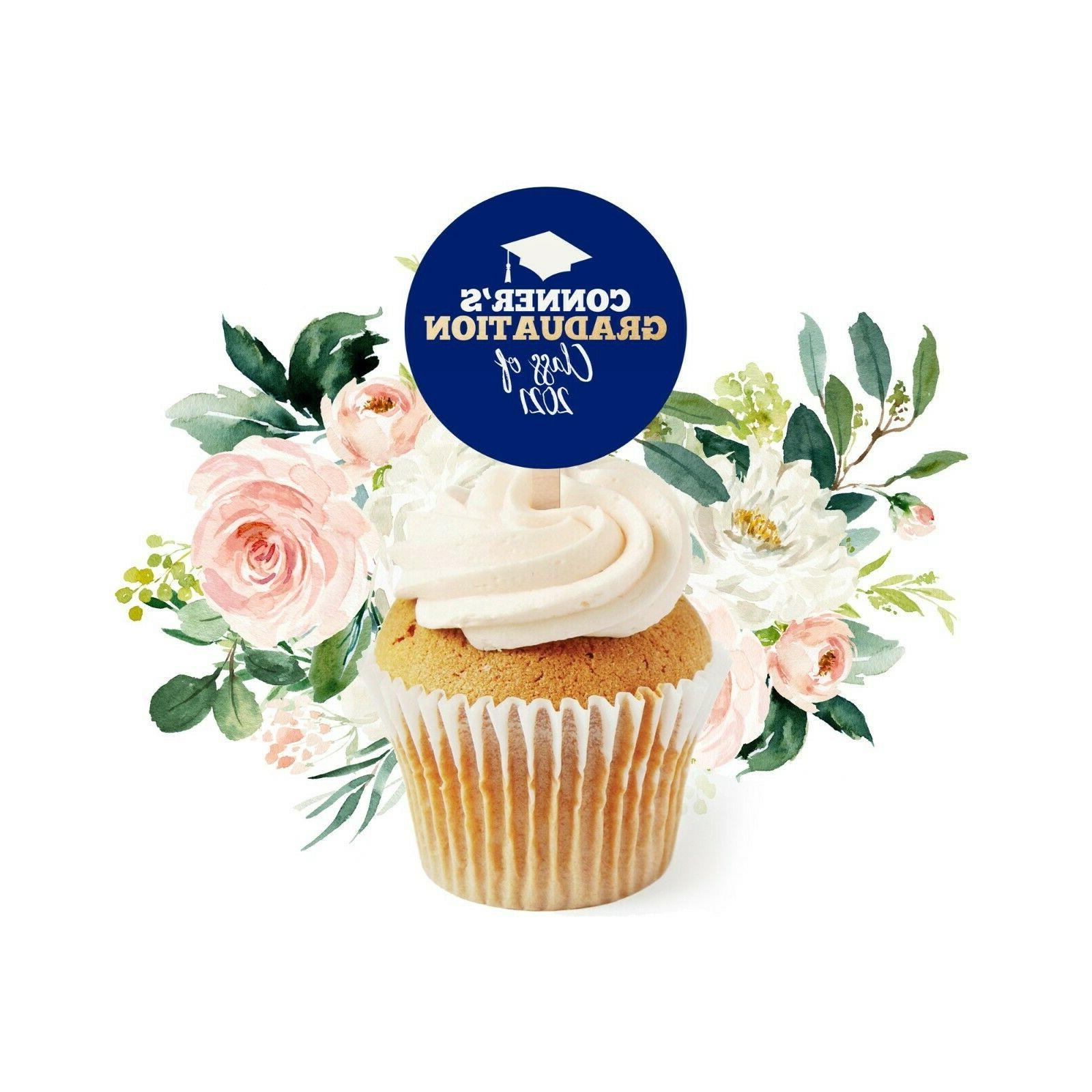 12 graduation cupcake toppers class of 2021