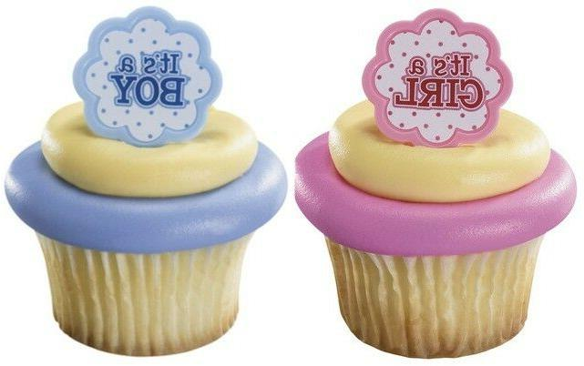 12  It's a BOY or GIRL  Cupcake Ring Topper......... Baby Sh