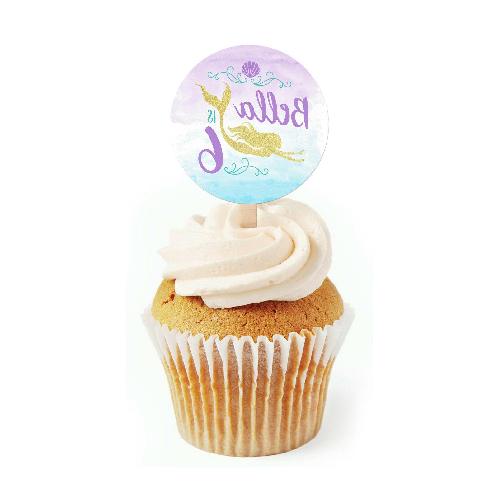 """12 Mermaid Dive Theme Birthday Party Favor Personalized 2"""" R"""