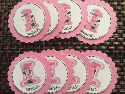 12 minnie mouse 1 cupcake toppers