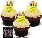 12 Novelty Good Luck Exams Yellow Mug Edible Cake Cupcake To