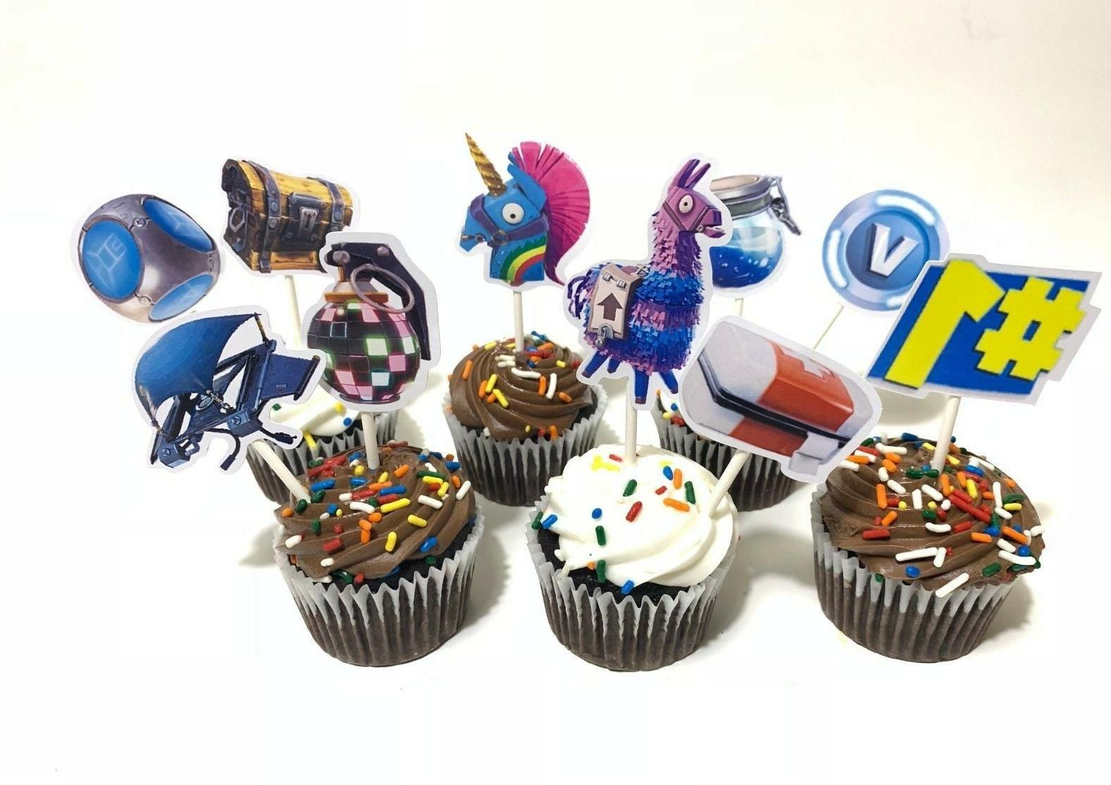 12 PACK Cupcake Toppers Fortnite Balloons Party Supplies