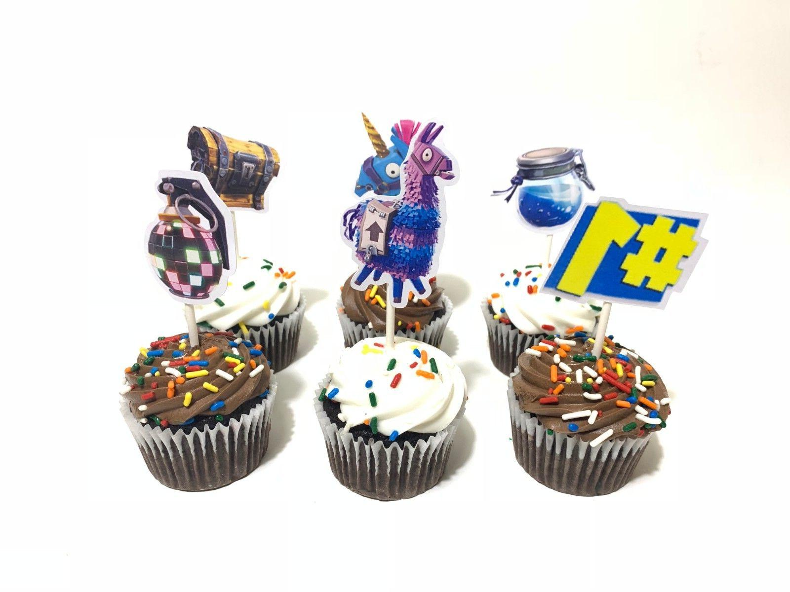 12 pack cupcake toppers fortnite balloons party