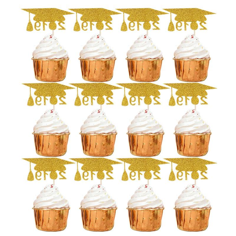 12 pcs Toppers Paper Cupcake Decor Cake Picks for Graduation Party Birthday