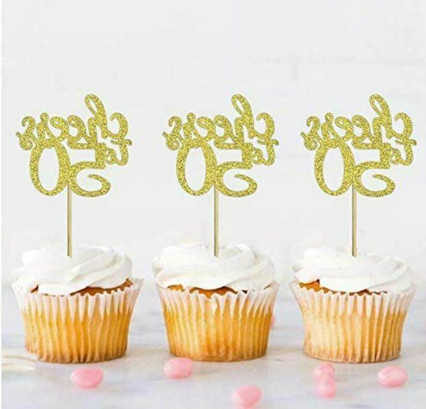 12 pcs gold glitter cheers to 50