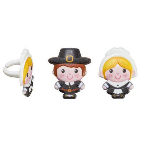 12 Pilgrim Cupcake Rings Toppers Thanksgiving Party Favors F