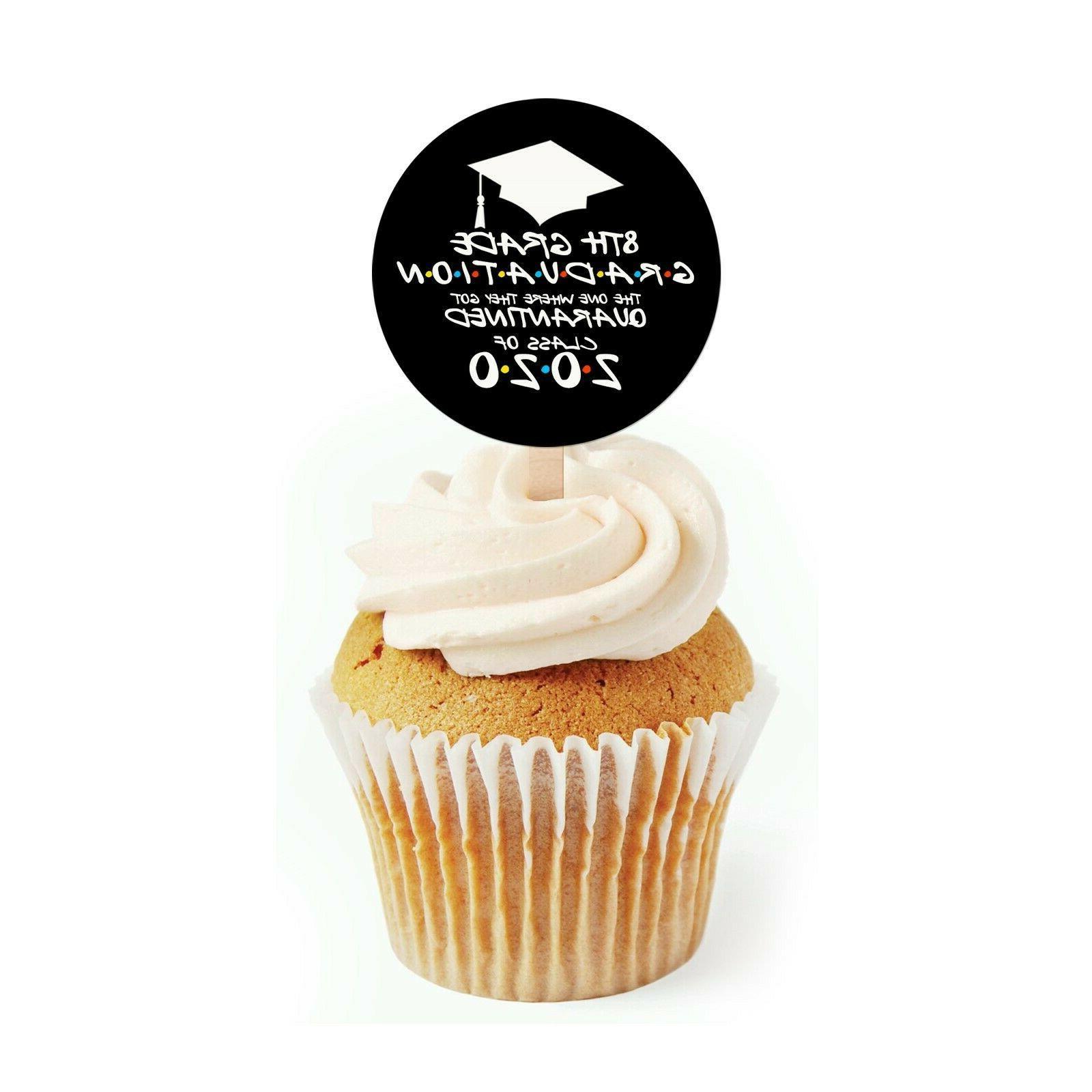 12 quarantine graduation cupcake toppers 8th grade