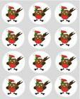 12 Robin Christmas rice paper cupcake toppers 40mm cake deco