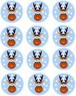 12 Rudolph Christmas Edible Cupcake Toppers. simply topps. B