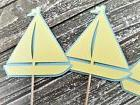 12 Sailboat Cupcake Toppers Baby Shower Its a Boy Cake Decor