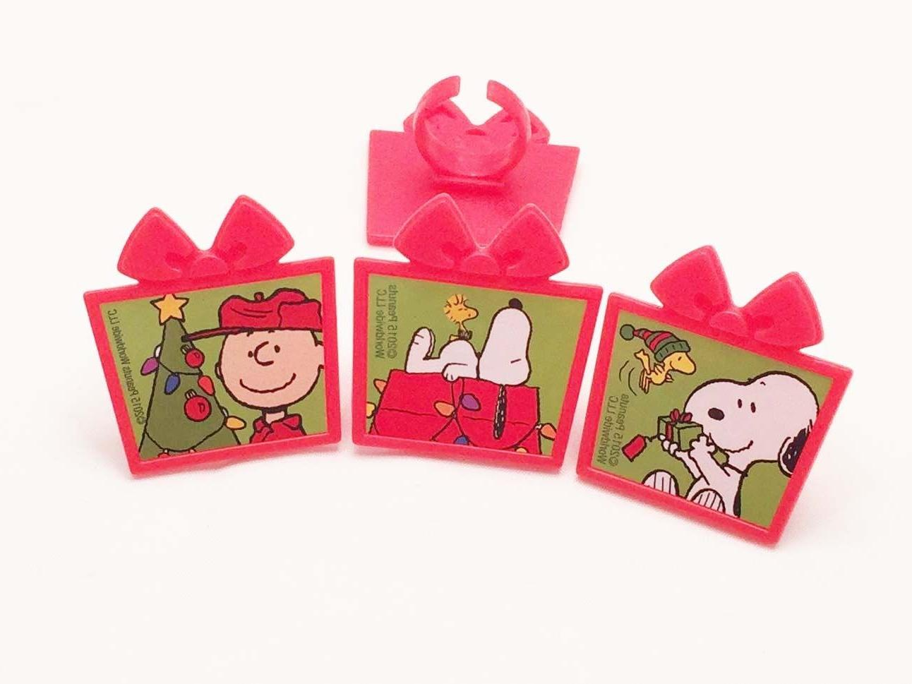 12 Snoopy Christmas Rings Toppers