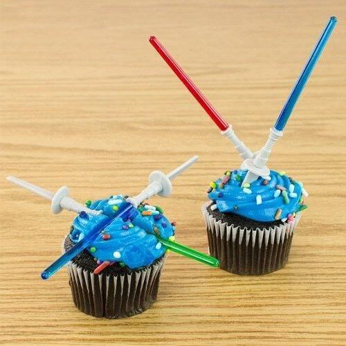 12 Star Wars Light Saber Cake Cupcake Toppers Picks Stick Yo
