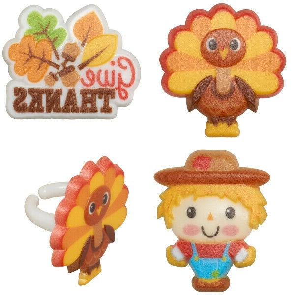 12 Thanksgiving Cupcake Rings Toppers Turkey Scarecrow Party