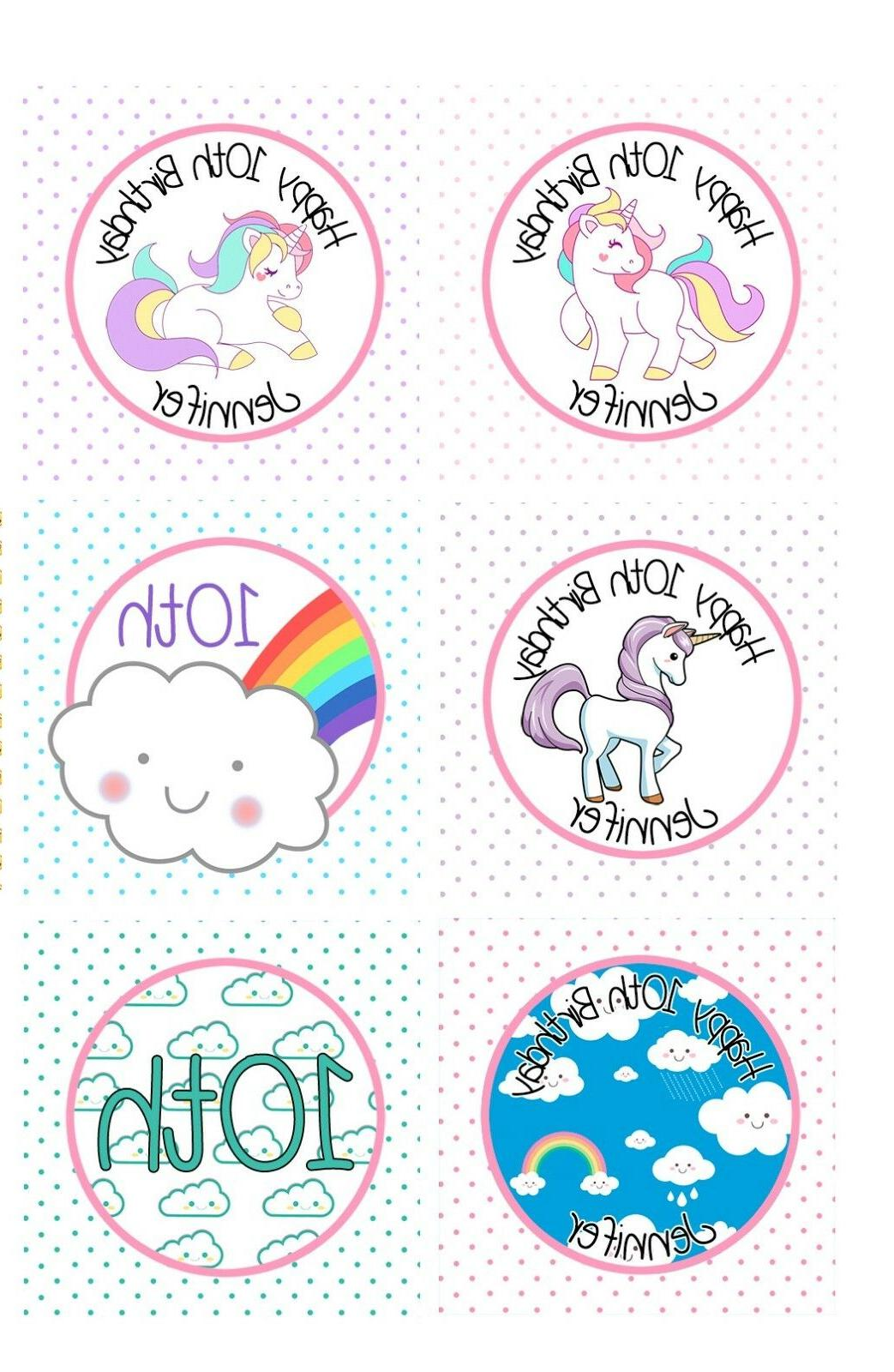 12 unicorn cupcake toppers clouds happy birthday