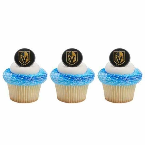 12 Vegas Golden Knights NHL Hockey Cupcake Rings Toppers Par