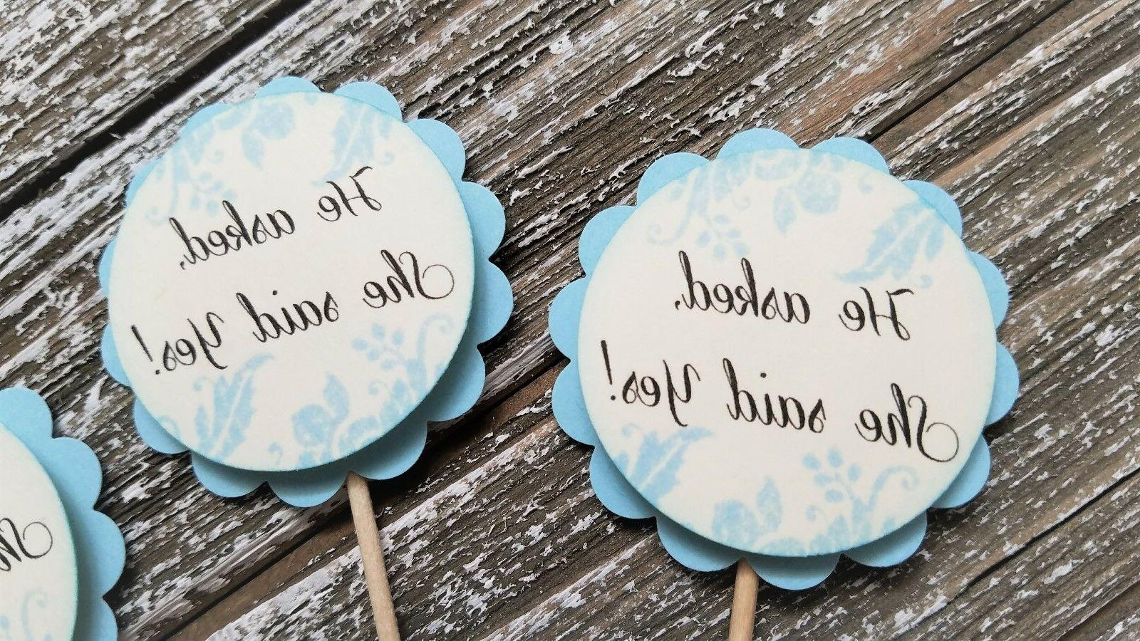 12 wedding cupcake toppers he asked she