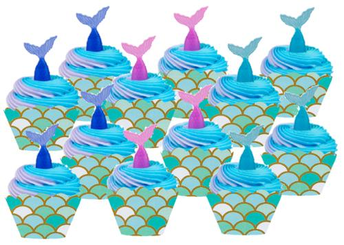 12pack Mermaid Cake / Cupake Decoration Toppers with Mermaid