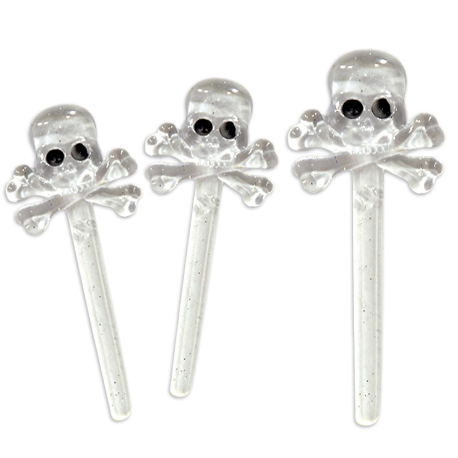 12pc skull crossbones cocktail food picks clear