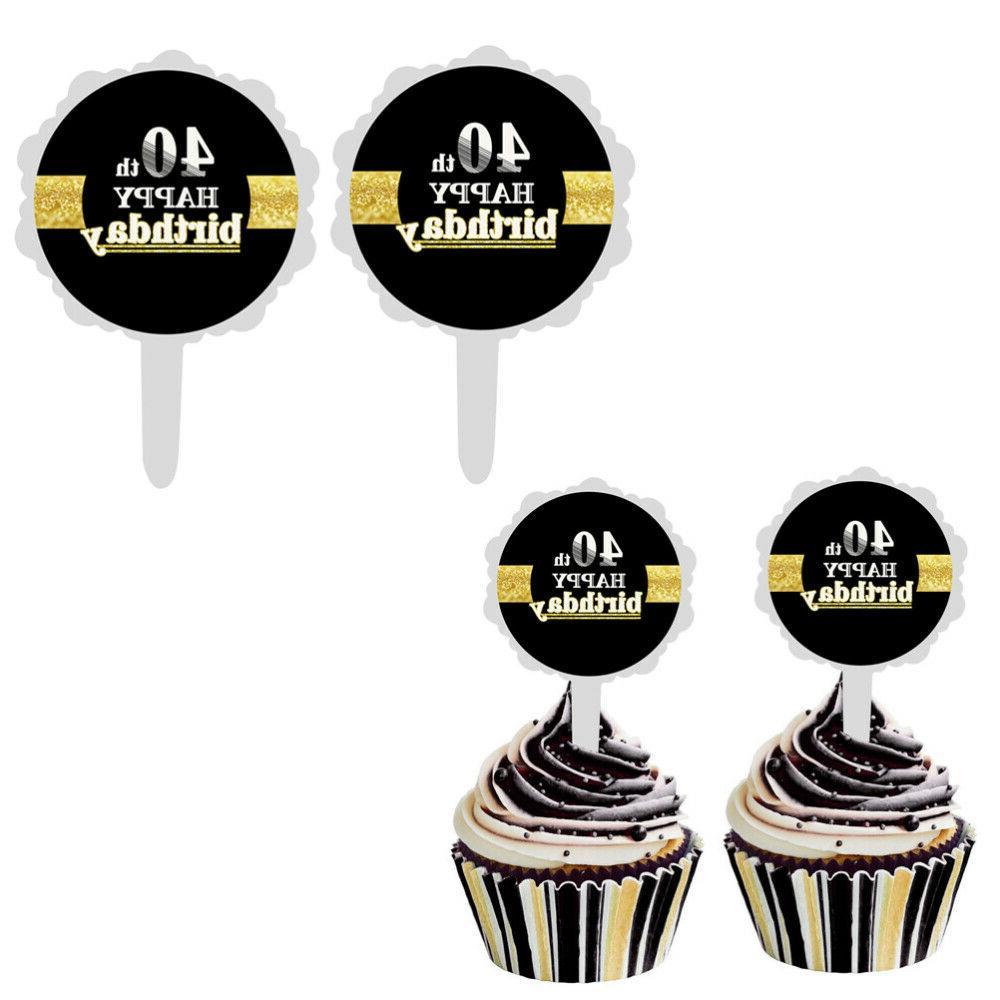 12pcs 40th happy birthday cake topper creative