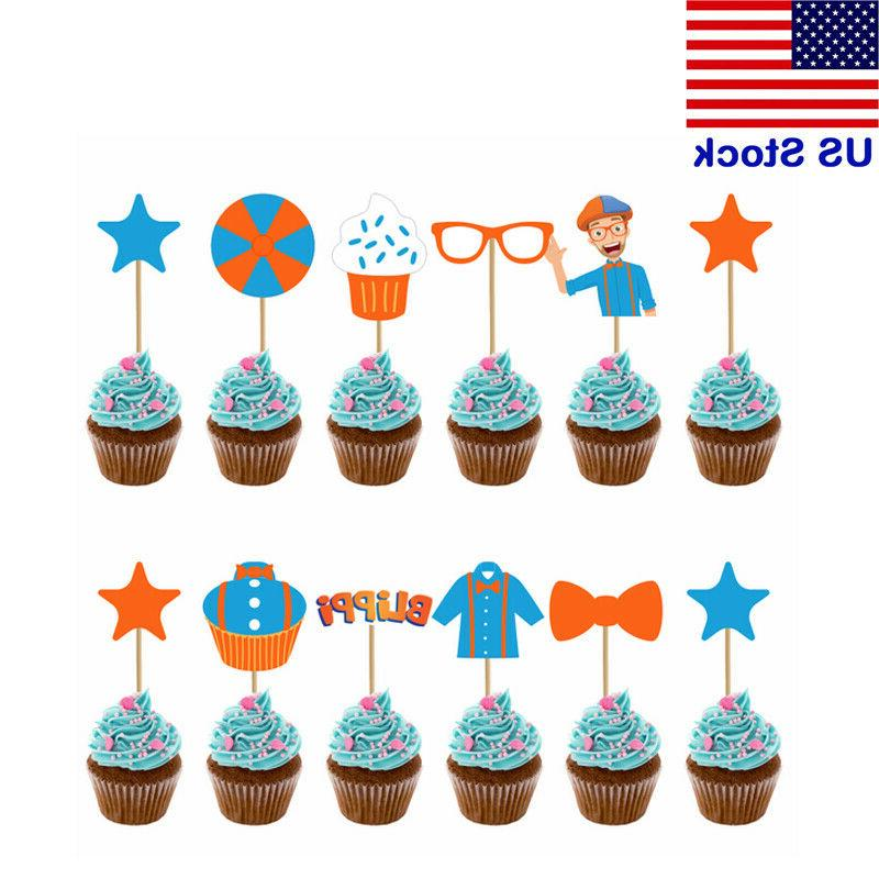 12pcs set blippi cake toppers picks cupcake