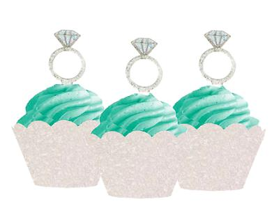 12pk Diamond Ring Wedding  Shower Cupcake Toppers w. Ivory G