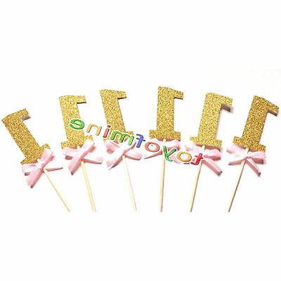 12pcs gold 1st birthday number cupcake topper