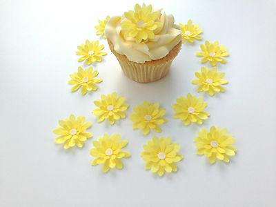 14 edible yellow 3d flowers pre cut