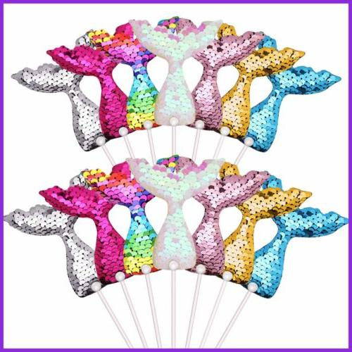 14 PC Tail Cake Toppers Sequin Novelty