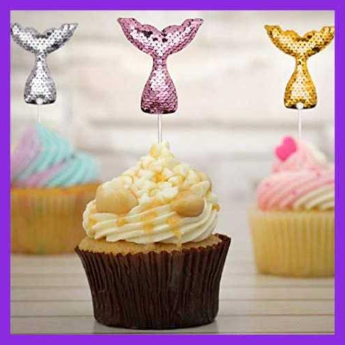 14 PC Tail Cake Toppers Set Sequin Dec