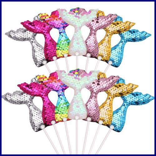 14 pc mermaid tail cake toppers set