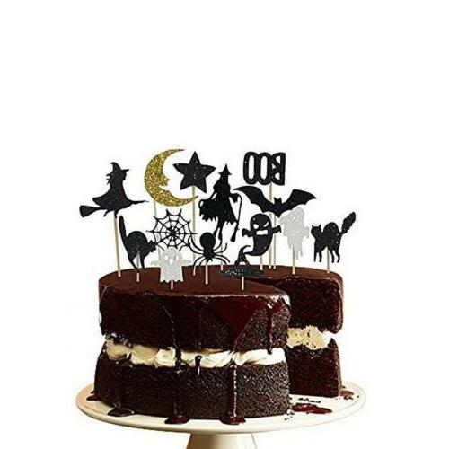 14 pcs/set Get Fresh Halloween Cupcake Toppers Sparkly Set Ghost