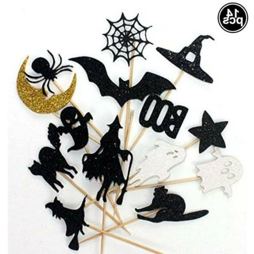 14 Halloween Sparkly Set Bat Ghost