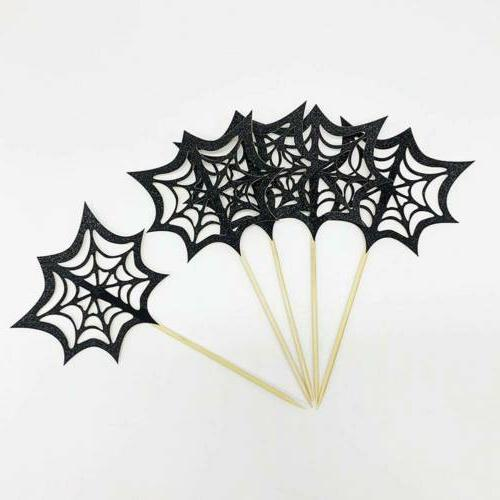14 pcs/set Halloween Cupcake Toppers Sparkly Bat Witch Ghost