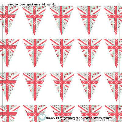 15 or 30 Edible Union Jack Shabby Chic  Bunting Cake   Cupca