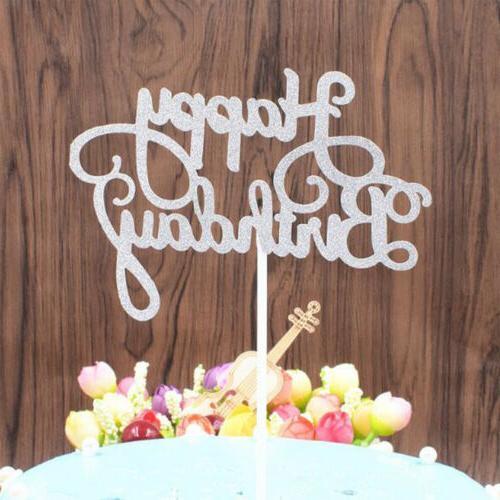 15 PCS Glitter Paper Happy Birthday Cupcake Dessert Decor