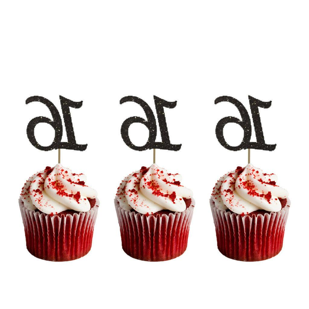 16th Birthday Cupcake Toppers - Number 16 Party – Glittery