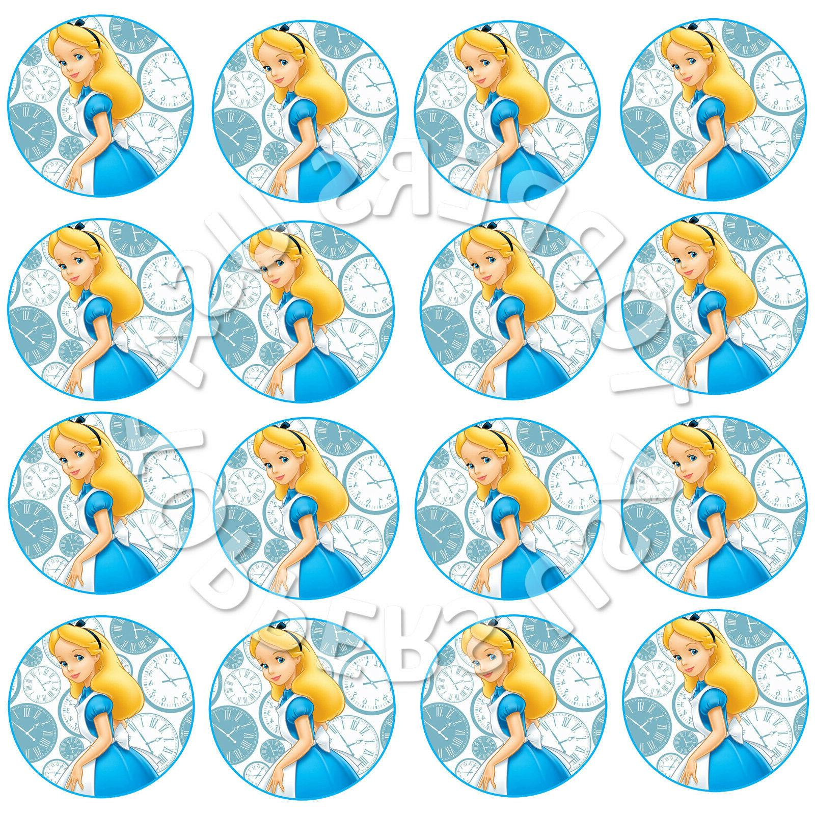 16x EDIBLE Alice in Wonderland Cupcake Toppers Party Wafer P