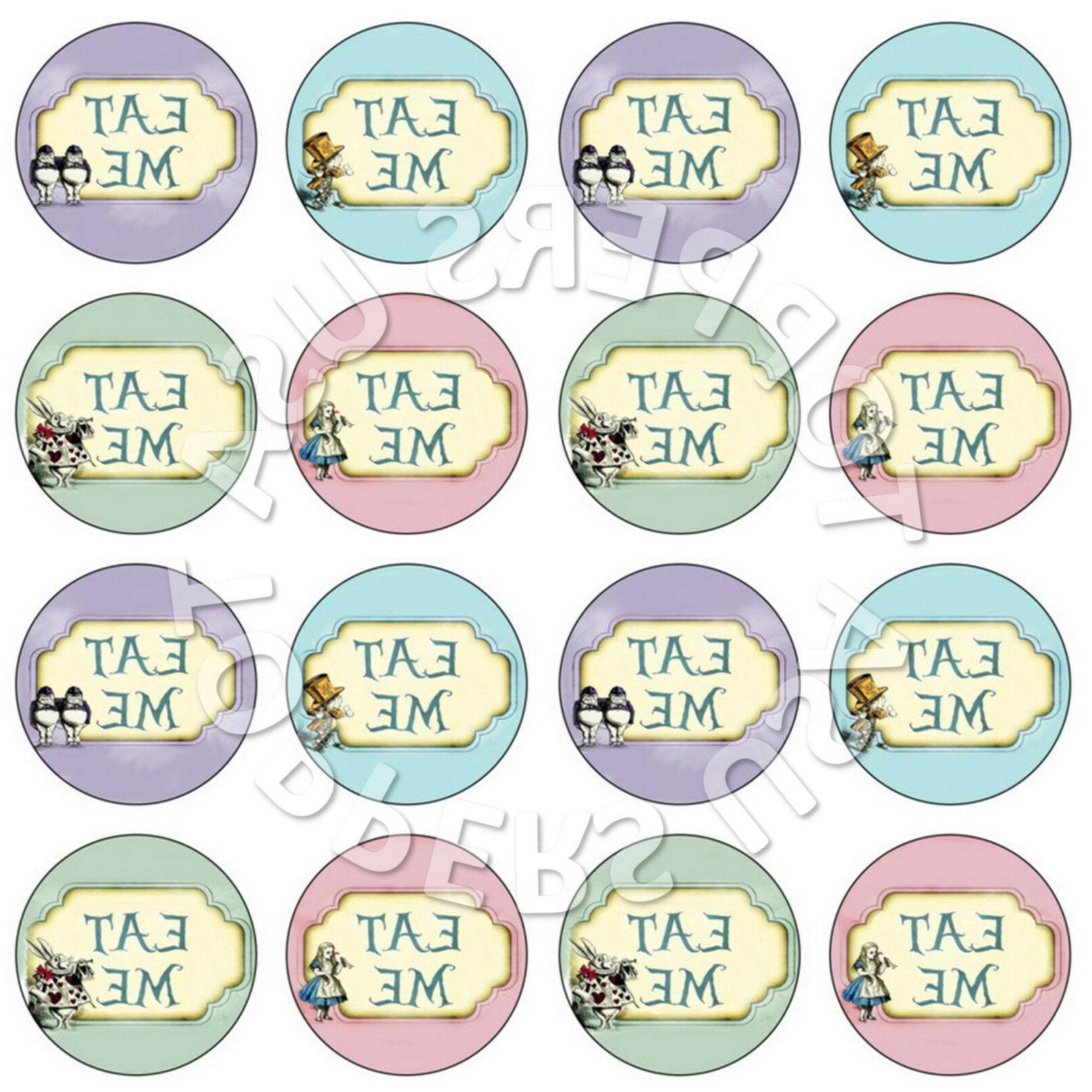 16x EDIBLE Alice in Wonderland Eat Me Cupcake Toppers Wafer